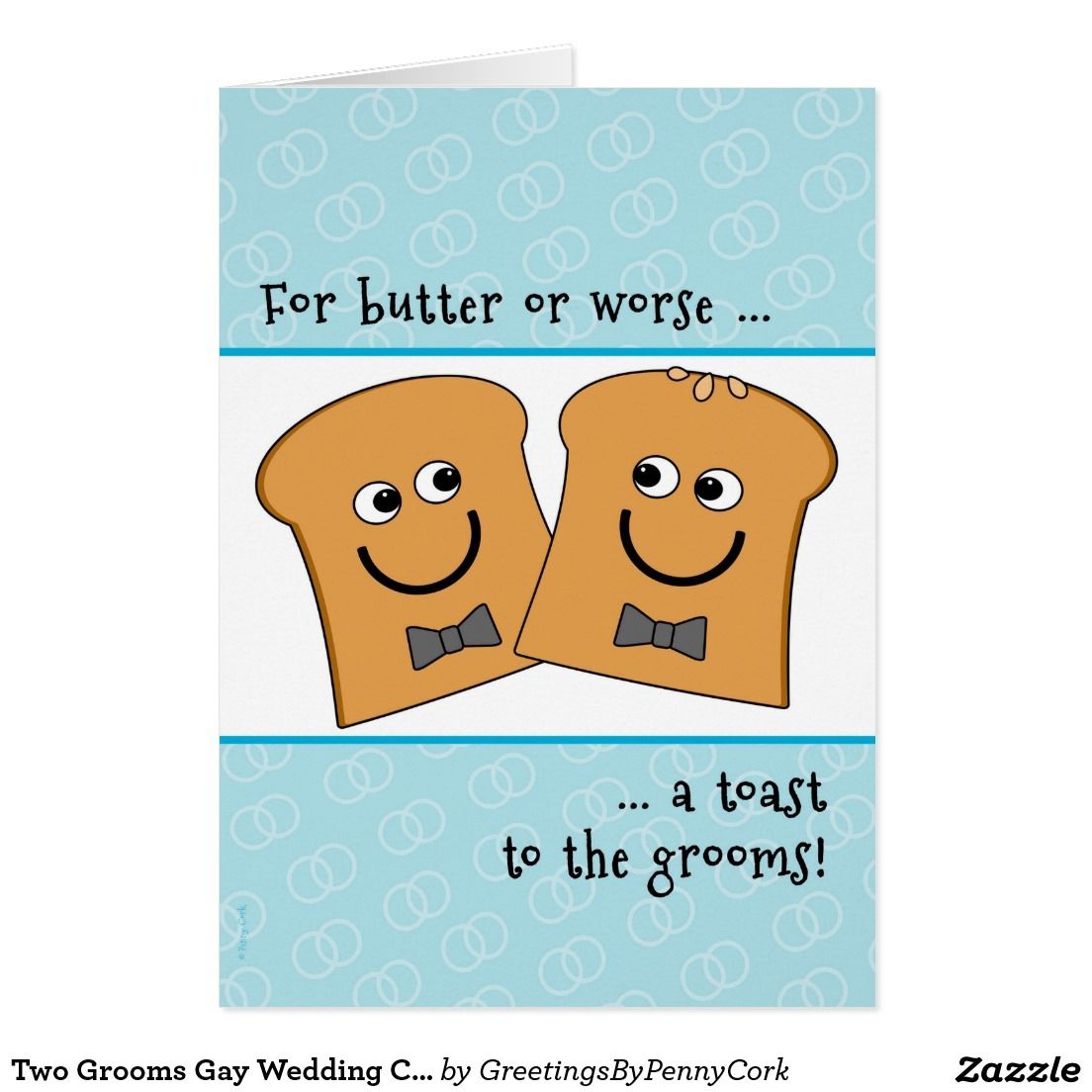 Two Grooms Gay Wedding Congratulations Funny Toast Card ...