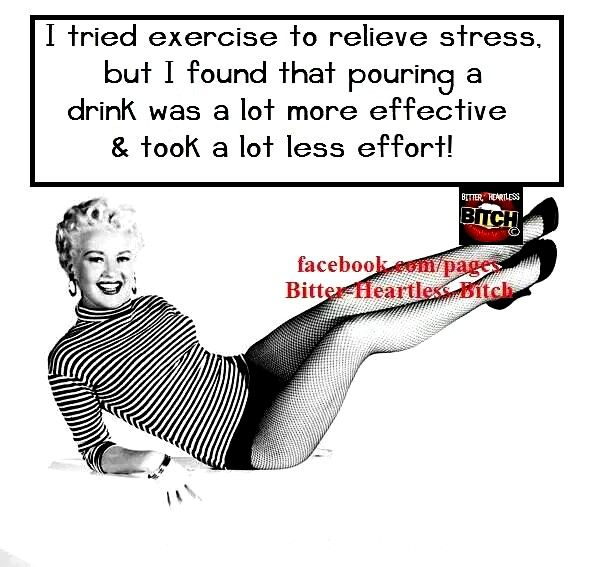 Pouring a drink also relieves stress