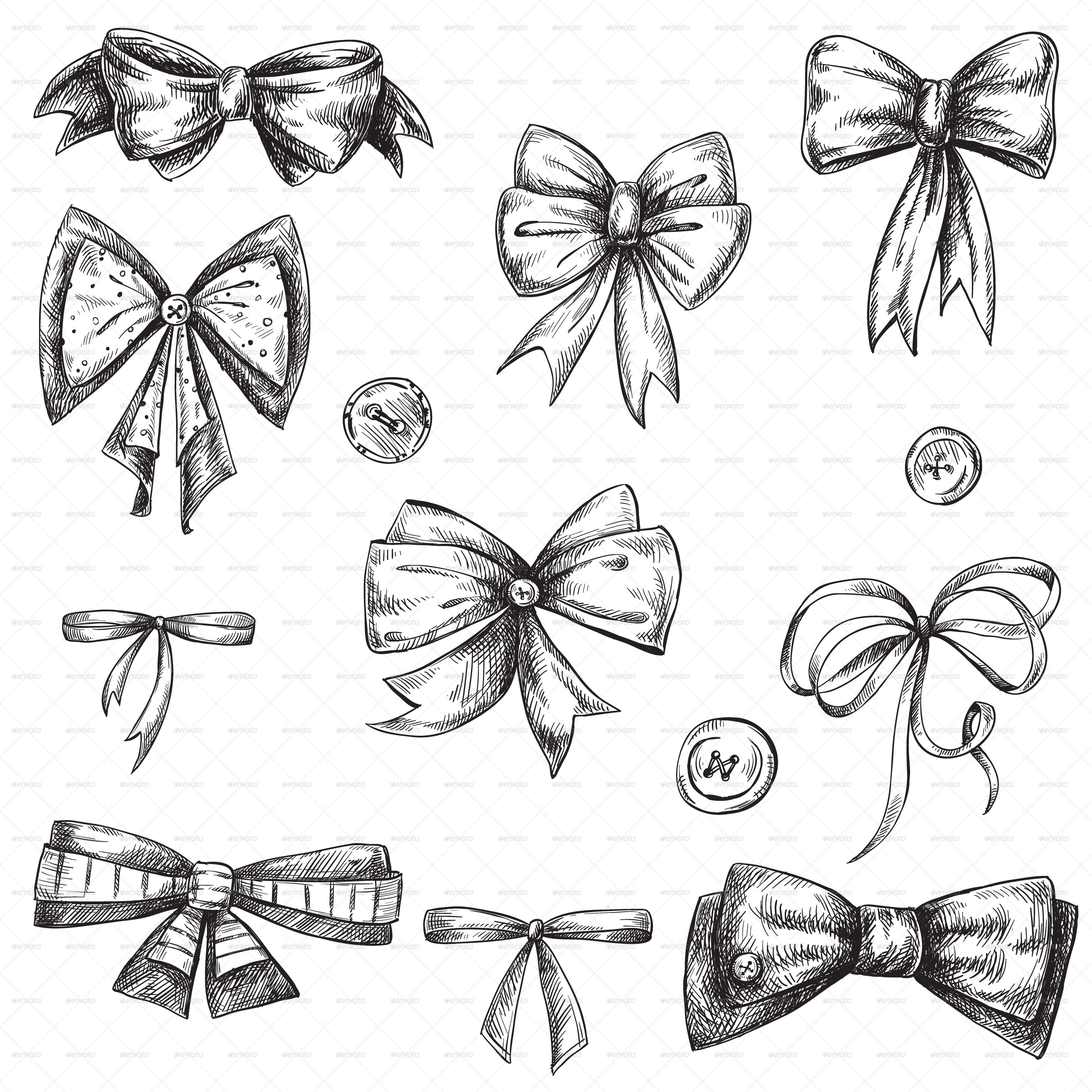 Set of Bows, Hand Drawn | Bogen zeichnen, Fliege tattoo ...  |Bow Tattoo Sketches