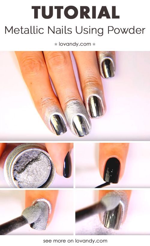First Tutorial For Metallic Nails Chrime Diy Hair And Nail