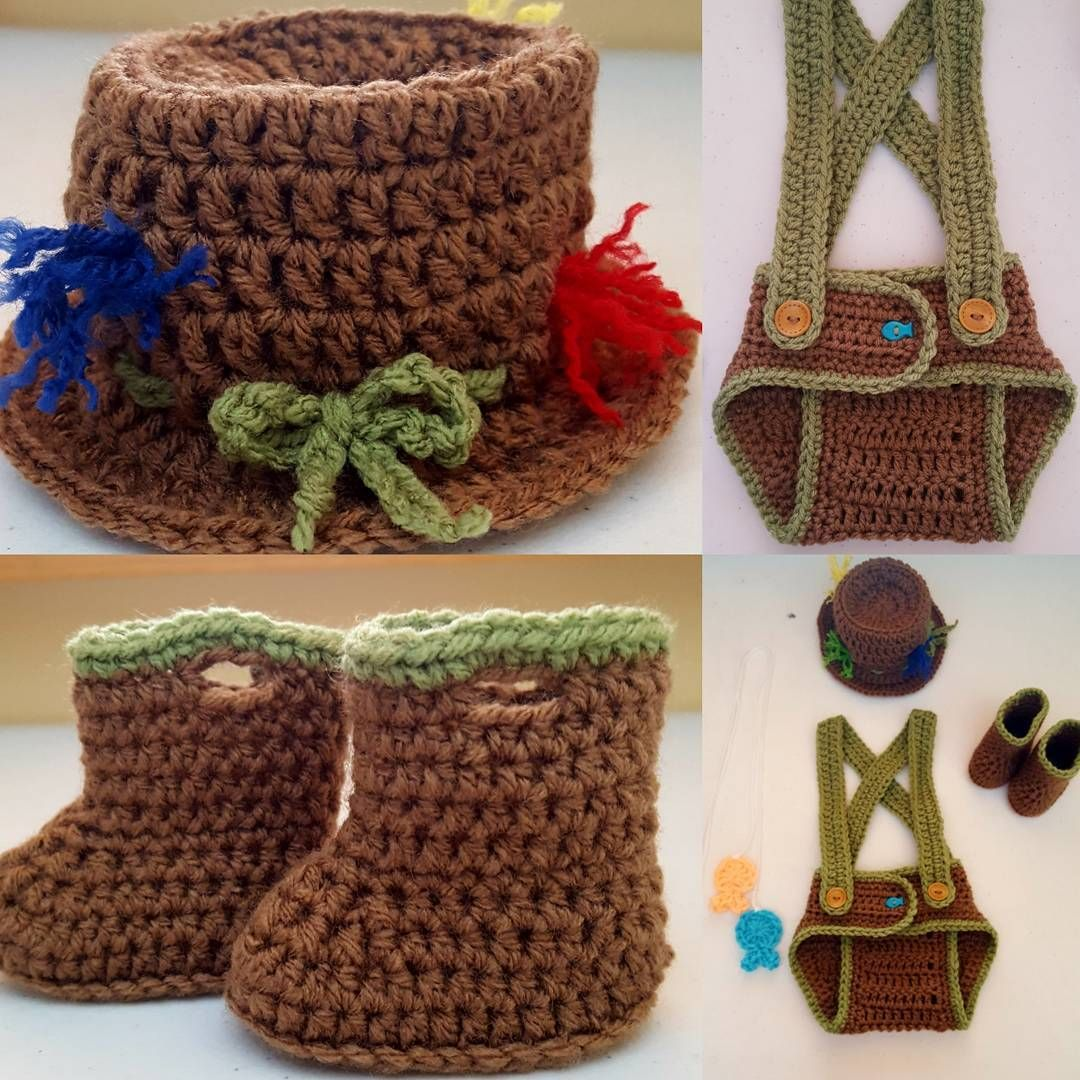 New Item Crochet Unisex Fisherman Outfit Fishermans Hat Suspender