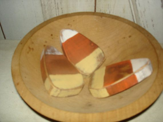 Wood Candy Corn Bowl Fillers Primitive Rustic by YorkiesPrimitives