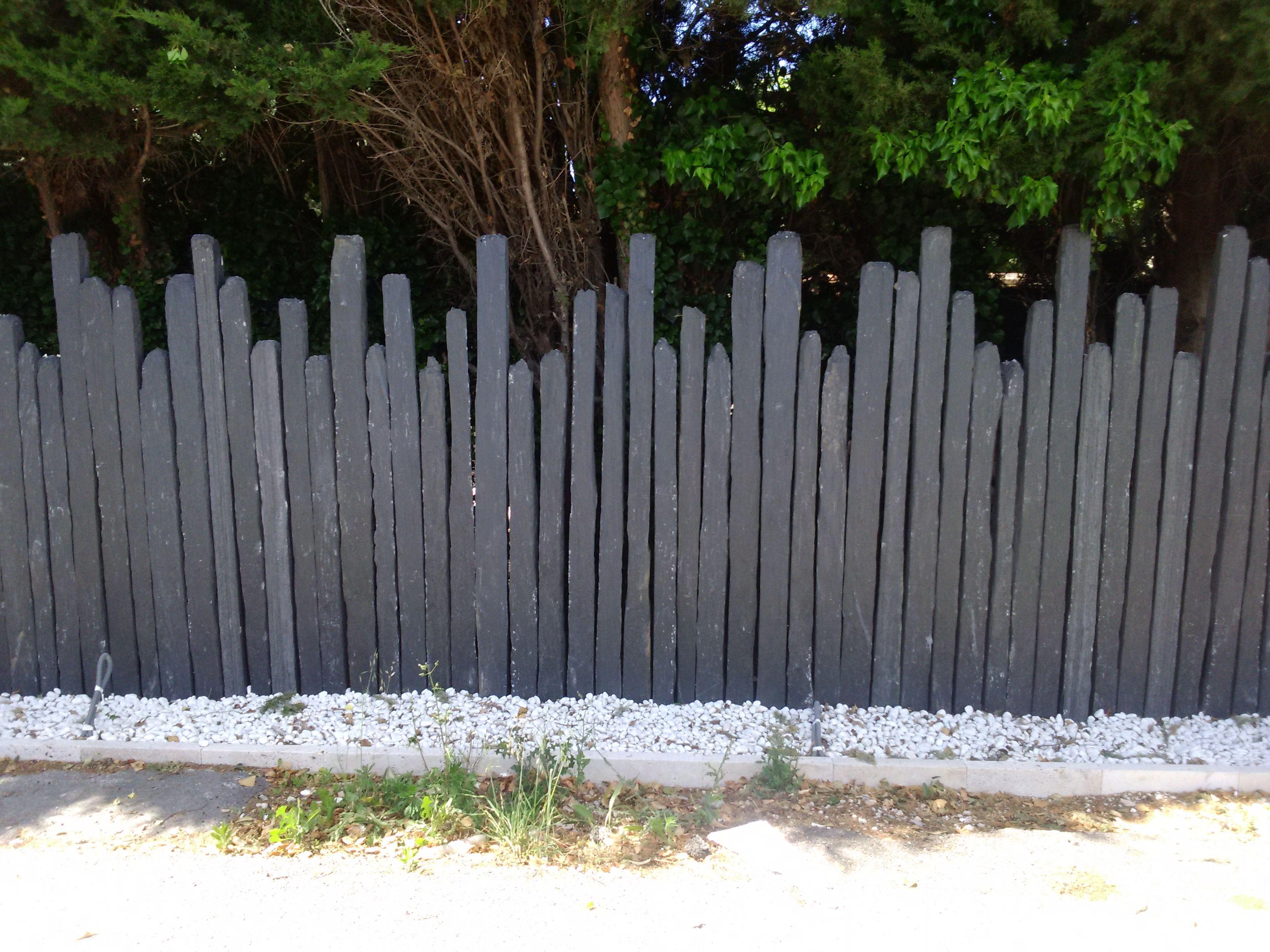 Piquet En Ardoise Bois Jardin clôture en piquets d'ardoise | amenagement jardin, cloture