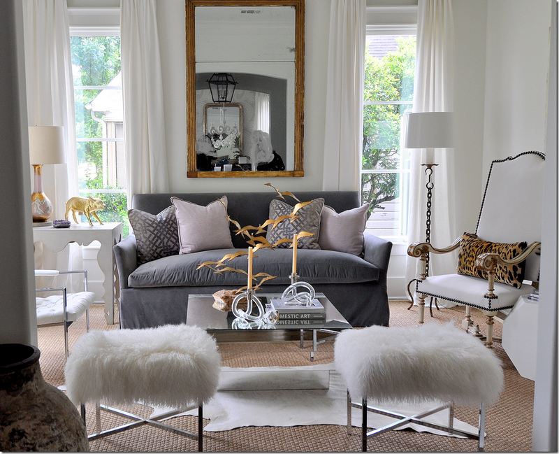 Room Of The Day ~ Kelly Wearstler Ombre Maze Lilac Pillows White Drapes  Gold Leaf Mirror Blue Slipcover Sofa Lilac Pillows Art Deco Mirrored Coffee  Table ...