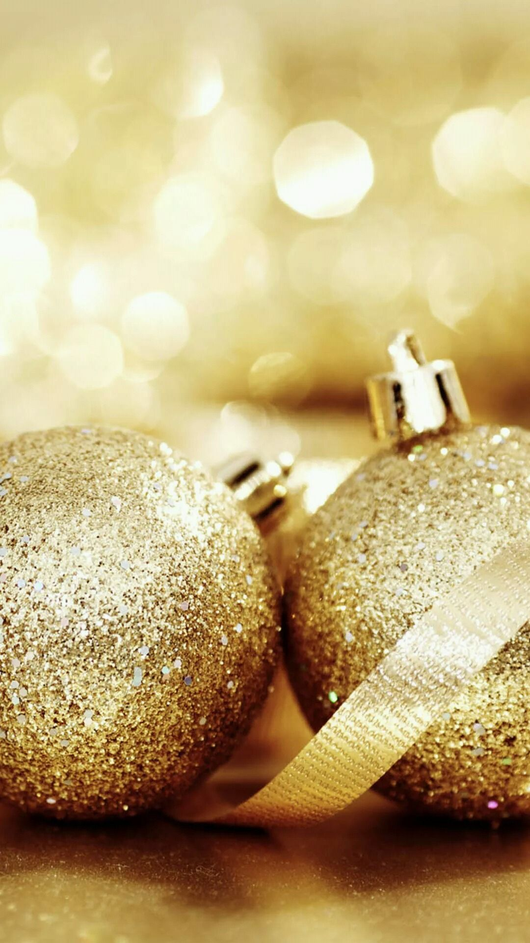 Golden Glitter Ornaments iPhone wallpapers. Merry Christmas