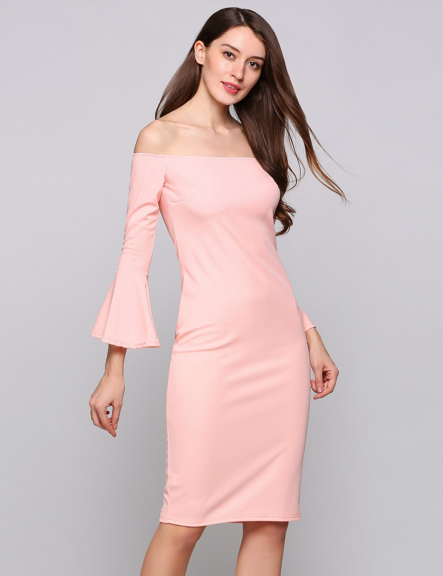 b2952e380dfc Pink Long Bell Sleeve Off The Shoulder Bodycon Solid Pencil Going Out Dress