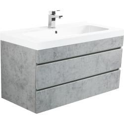 Photo of Talis 100 bathroom furniture in concrete with handle-free EmotionEmotion drawers