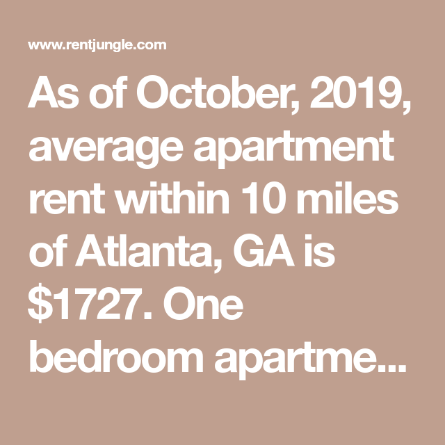 As Of October, 2019, Average Apartment Rent Within 10