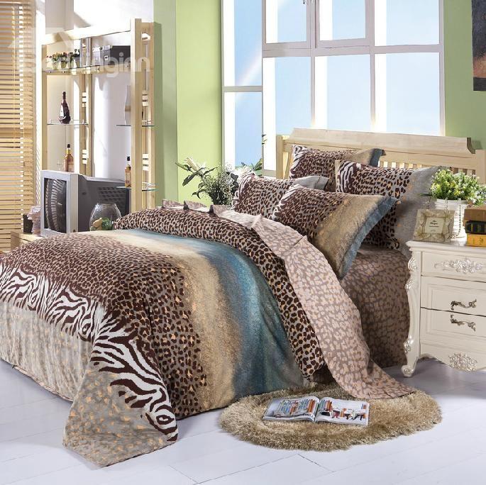 100 Cotton Elegant Color Leopard Print 4 Piece Bedding Sets Duvet
