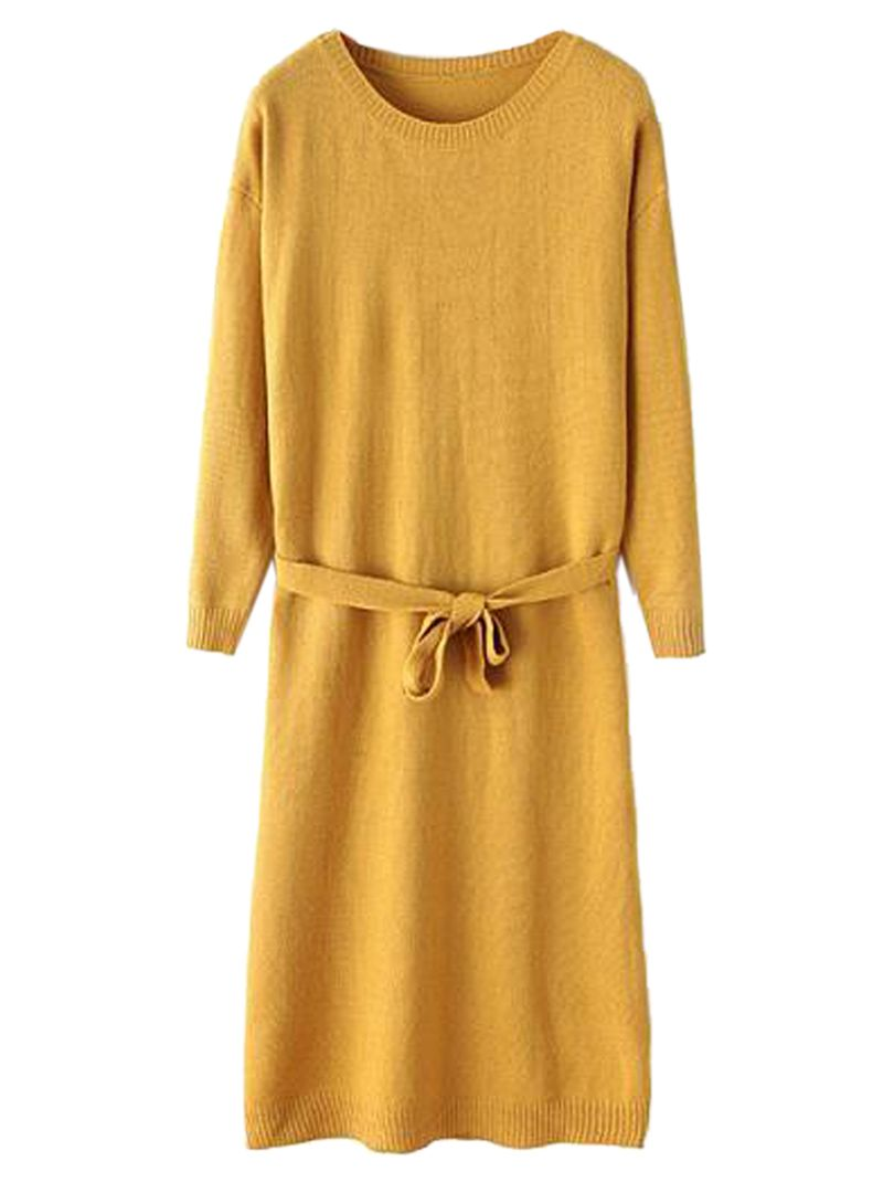 Love this! Yellow Long Sleeve Knit Dress With Belt | Choies