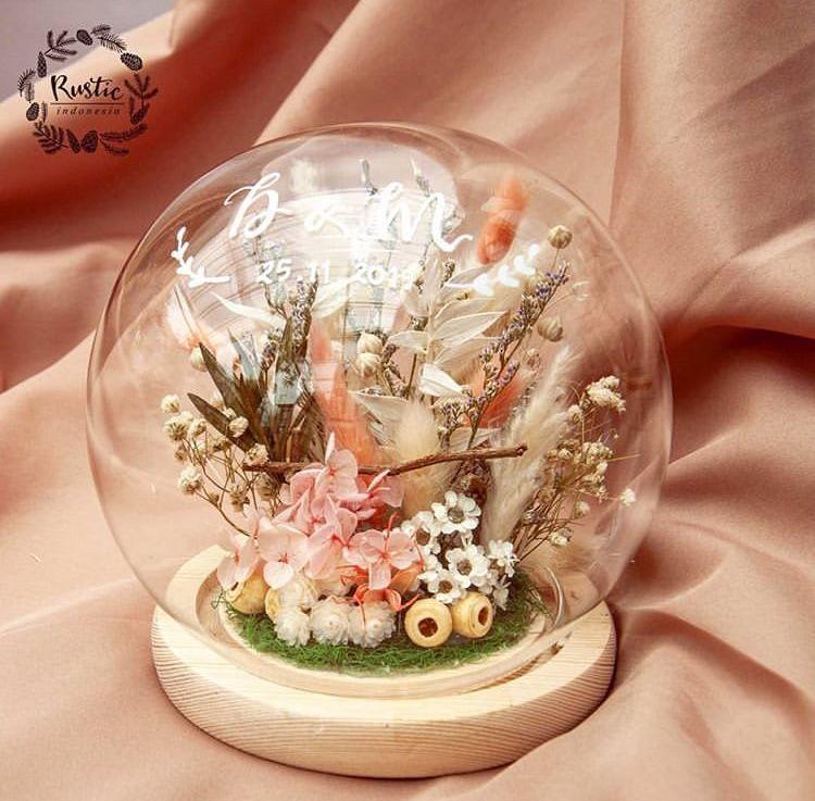 Kotak Cincin Nikah Kayu Rustic Cincin Perhiasan Bunga