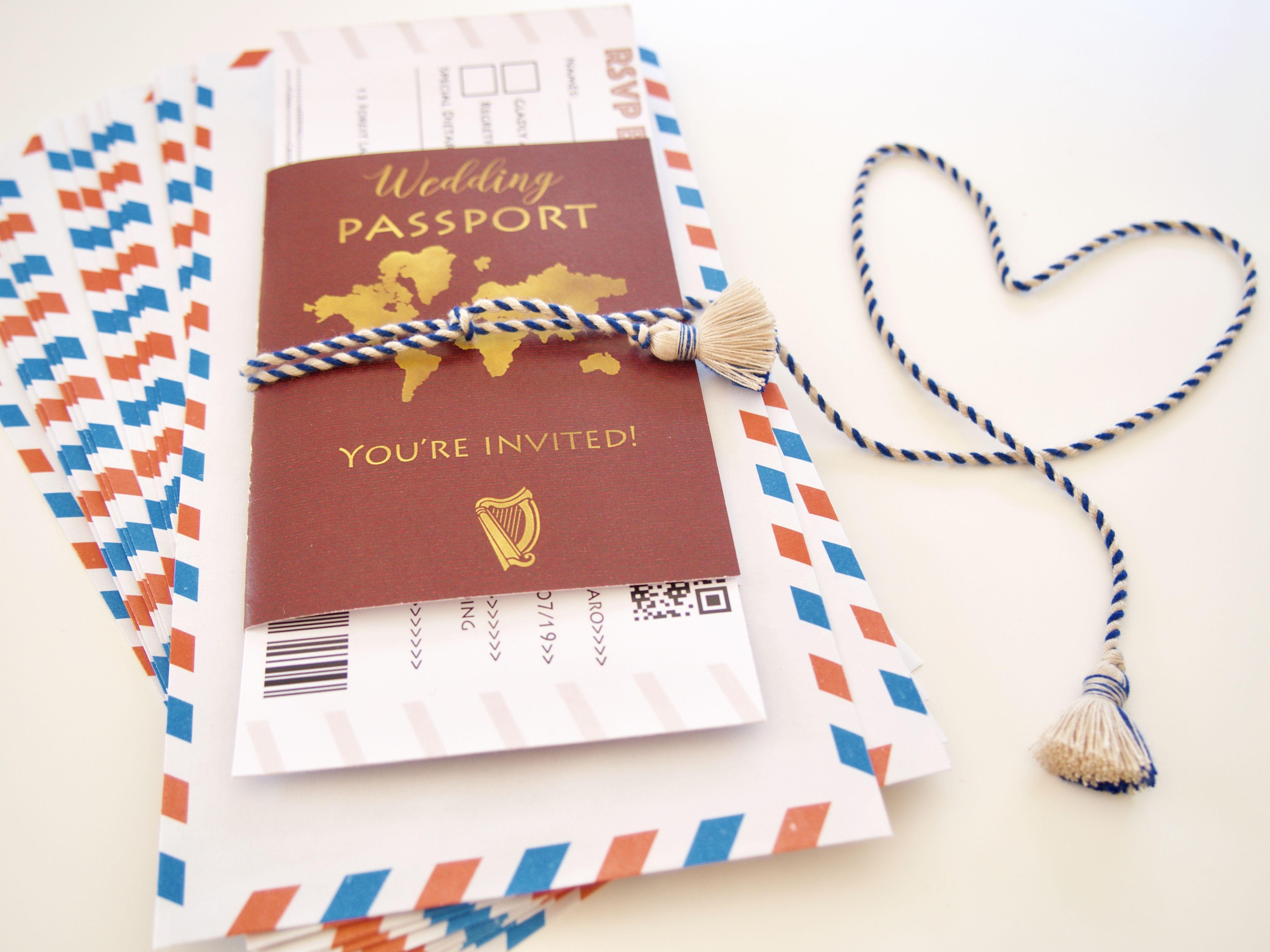 Wedding Passports Burgundy, Digital File, Travel Theme Wedding ...