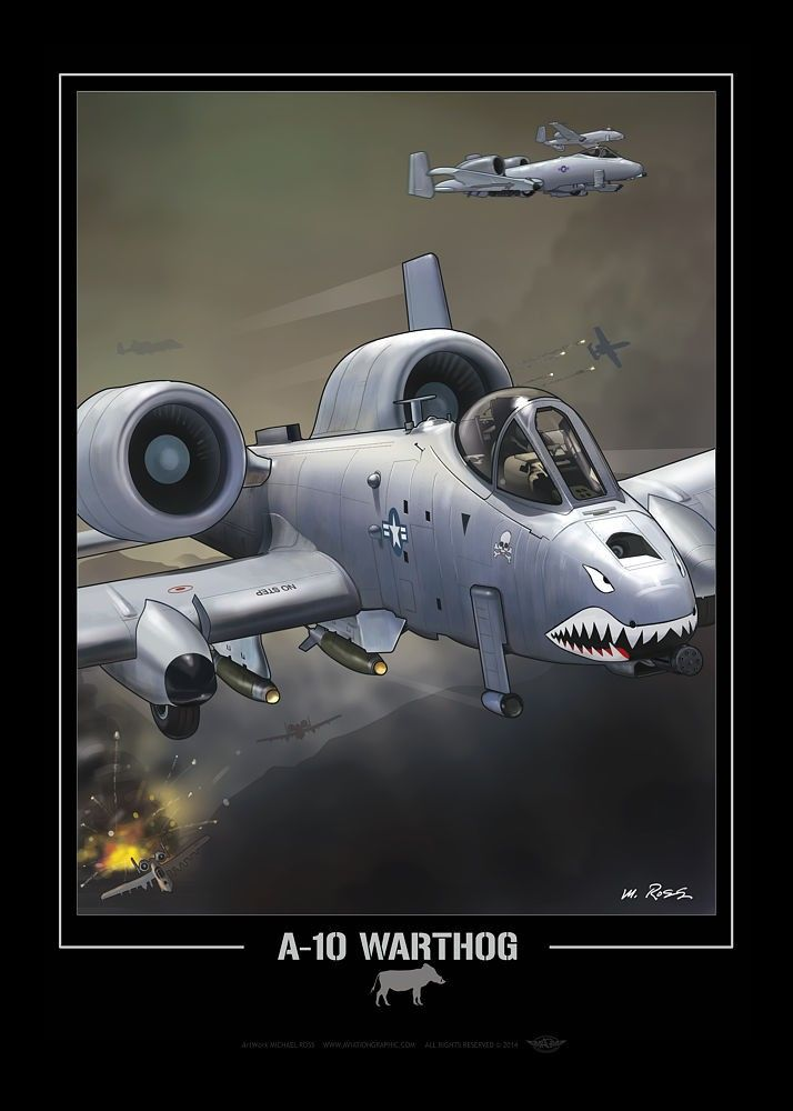 "UNITED STATES AIR FORCE A-10 ""Warthog"", comic art style"