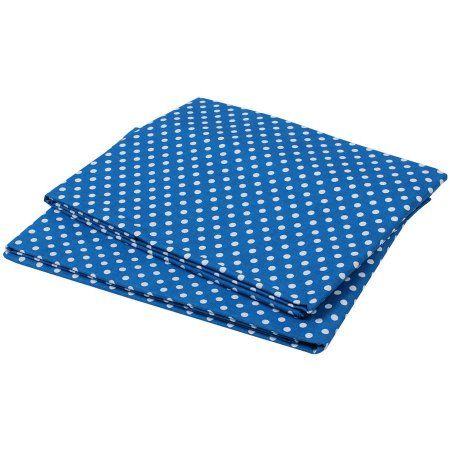 Bacati - MixNMatch Pin Dots Crib/Toddler Bed Sheets 100% Cotton Percale, Snorkel Blue, 2-Pack