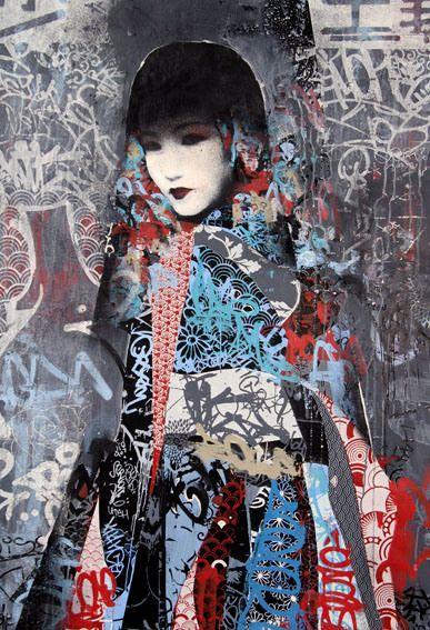 Gallery East Meets West In Hush S Klimt Esque Twin Series Street Art Graffiti Graffiti Art East Meets West