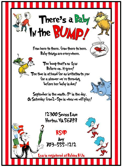 Aunt Sondra! Dr Seuss Cat in the Hat Printable Baby Shower or - printable baby shower invite