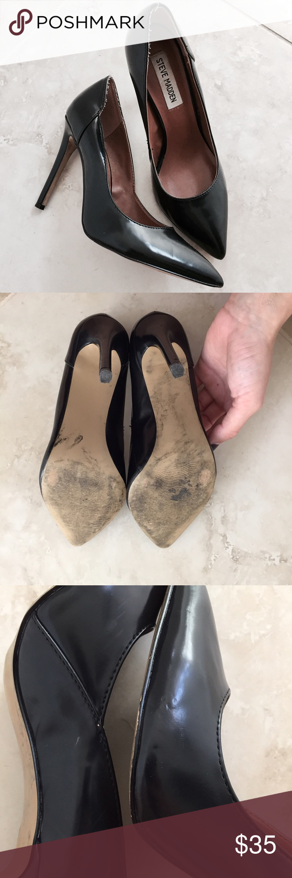 Steve Madden Pumps EUC classic black pointed-toe pumps by Steve Madden. Some scuffs as shown in photo and fraying at the heel (also shown) but excellent condition overall. Steve Madden Shoes Heels