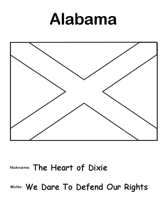 Alabama Symbols Coloring Pages Alabama State Flag Coloring Page The History Teacher Pinterest Flag Coloring Pages Alabama State State Flags