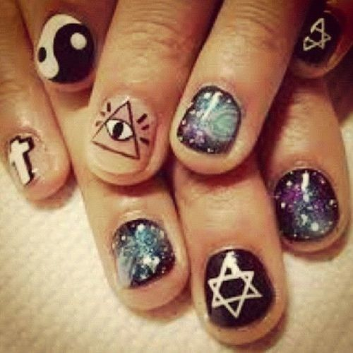 Hipster cool shit pinterest mani pedi pedi and manicure i love that these nails have all the trends on them cross galaxy all seeing eye ying and yang star prinsesfo Gallery