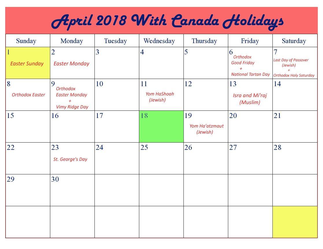 April 2018 Calendar Canada Holidays 2018 holiday