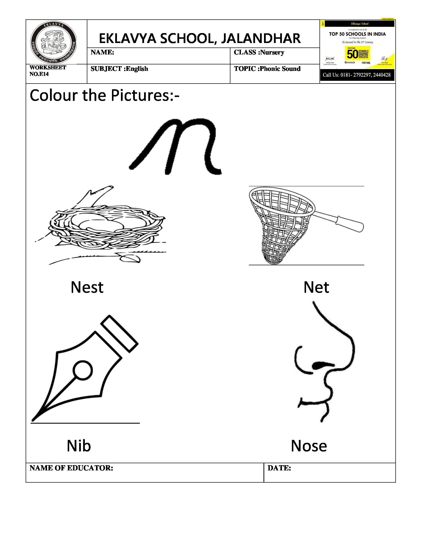 Worksheet on phonic sound \' n \' | Pre- Primary Worksheets ...