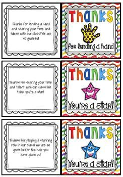 FREE editable Thank You Cards/Tags for your class volunteers and ...