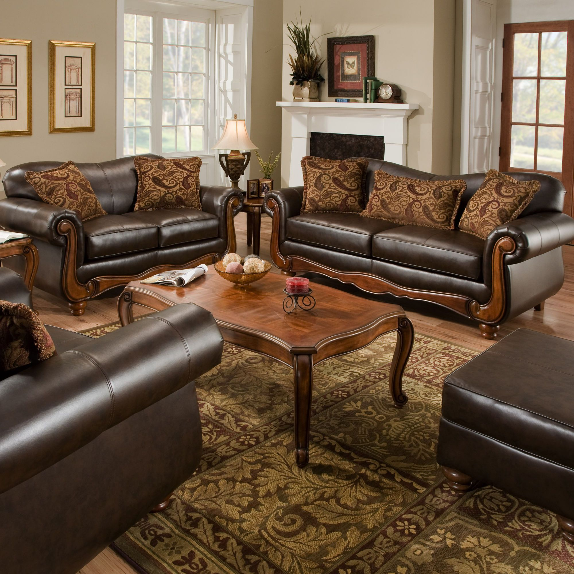 Leather Living Room Furniture: $1,300 2 Pc American Furniture Bentley Living Room