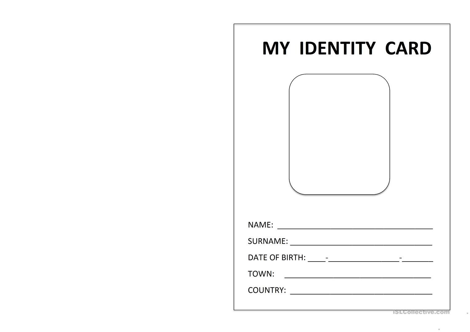 Printable Id Card English Esl Worksheets For Distance Throughout Id Card Template For Kids Id Card Template Free Business Card Templates Business Template