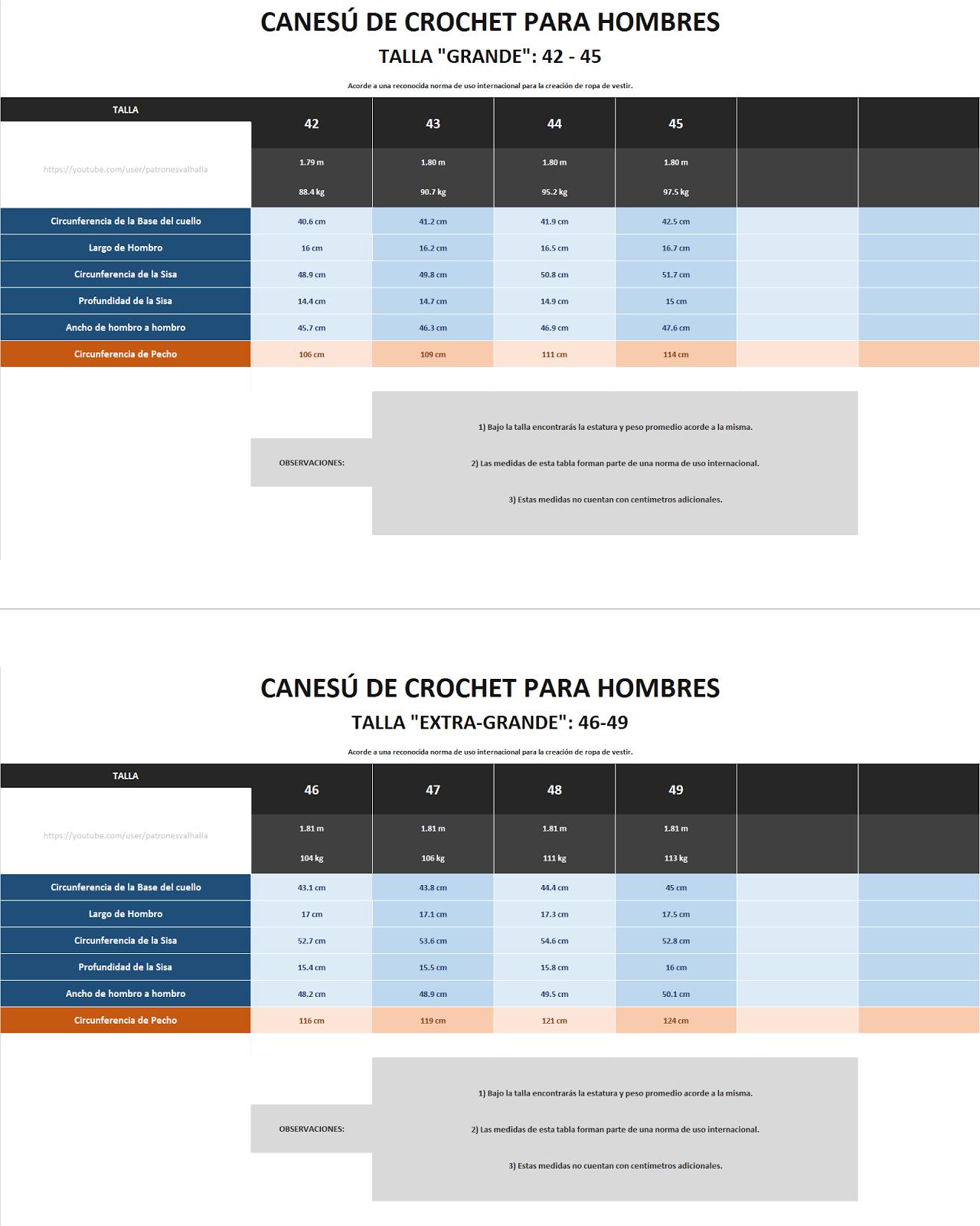 Tabla+de+Medidas+para+Canesu+de+Crochet+de+Hombres+grande+y+extra ...