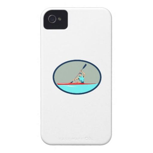 Kayak Racing Canoe Sprint Oval Retro iPhone 4 Case-Mate Cases