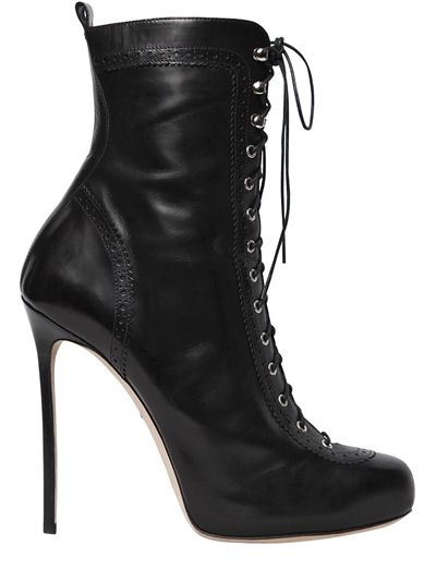 DSQUARED2 - 120MM WITNESS LACE-UP LEATHER BOOTS - BOOTS - BLACK -  Luisaviaroma - 120mm Stiletto heel. 10mm Internal platform . Reinforced  eyelets.