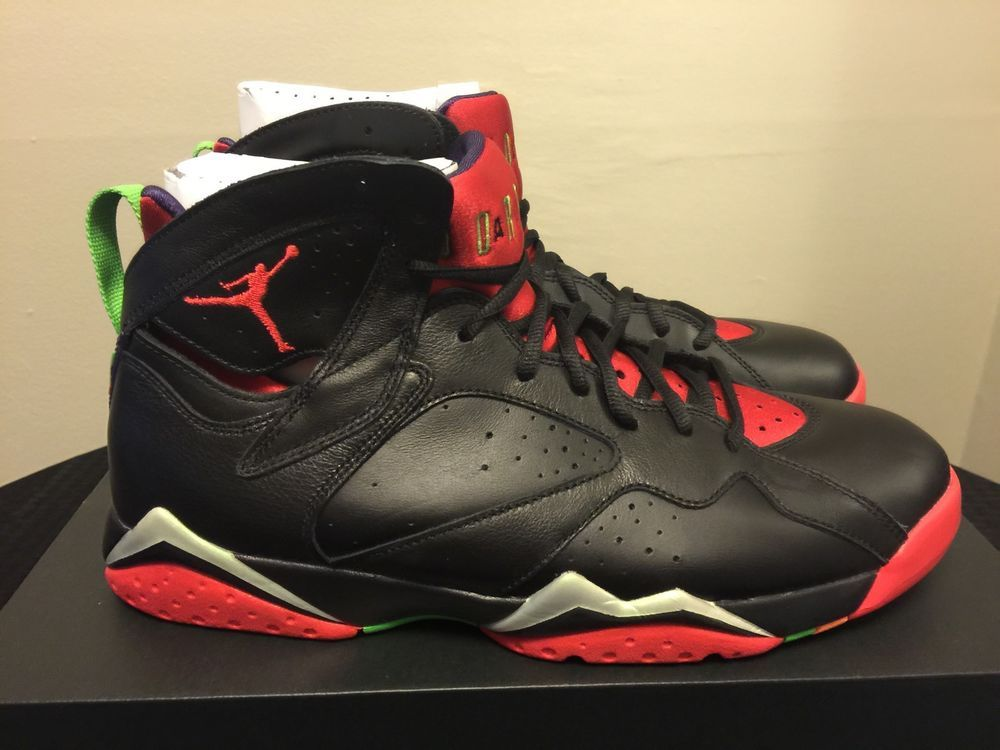 Men's Air Jordan 7 Retro Marvin the Martian Black Red 304775 029 size 10  shoes #