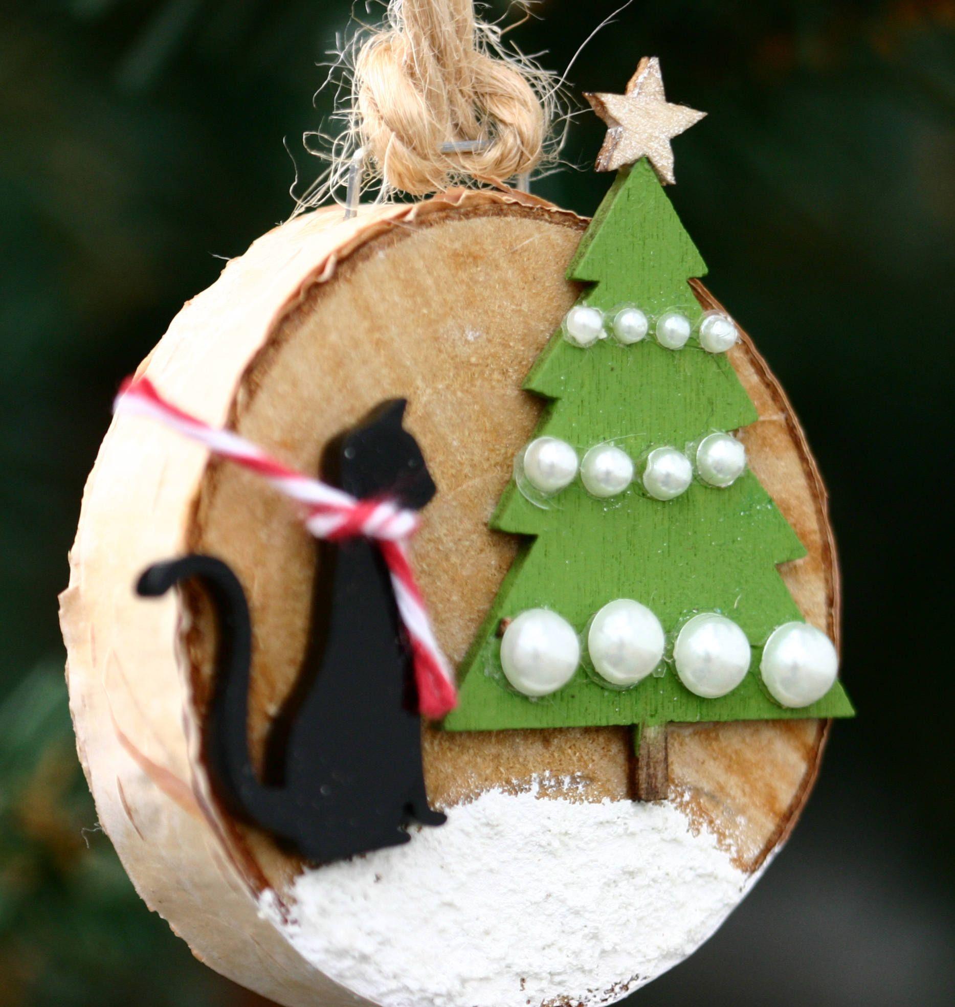 Christmas Tree Made Of Black Cats: Cat Christmas Tree Ornament, Wood Slice Ornament, Birch