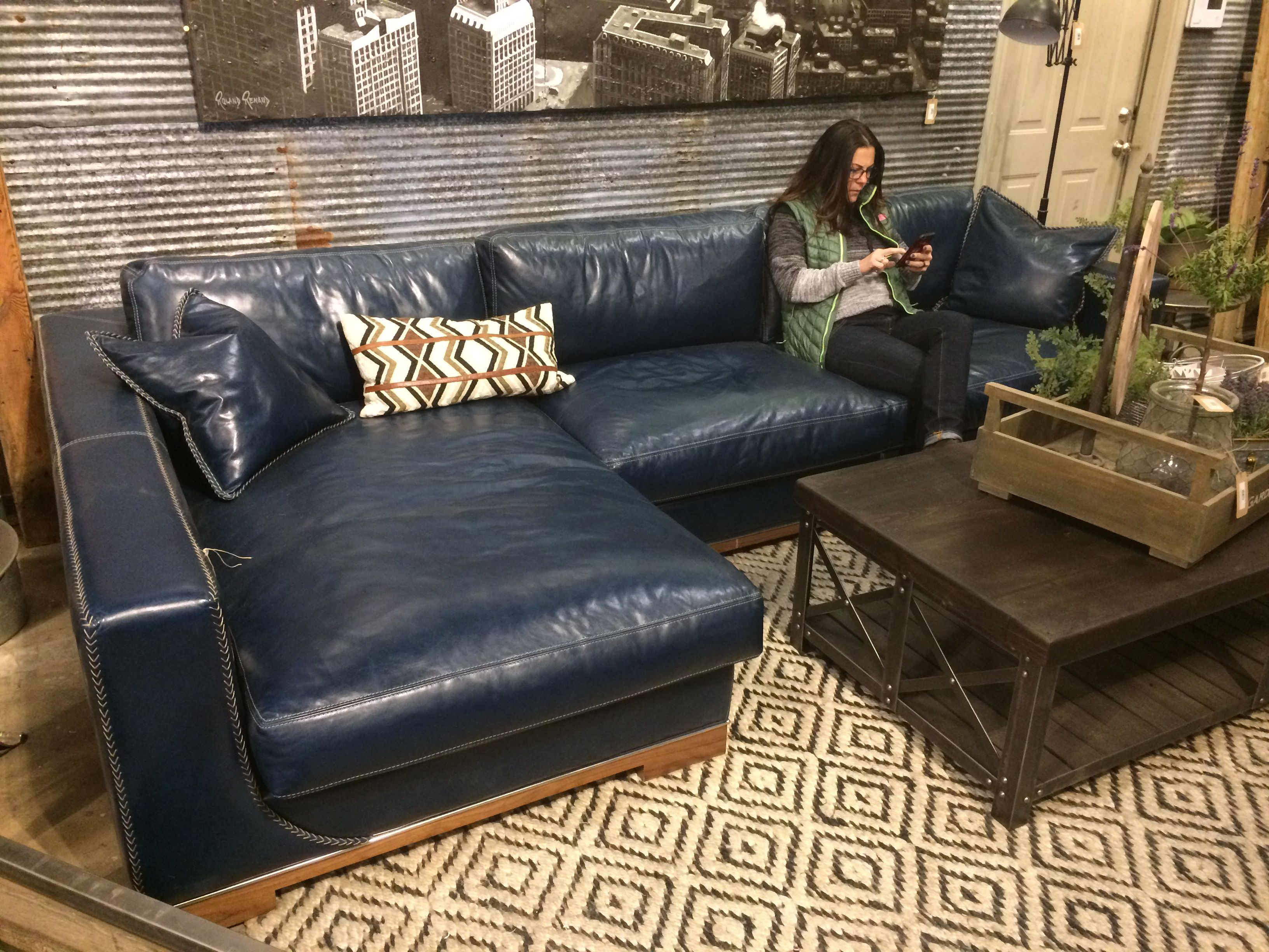 Urban Farmhouse Market Okc Blue Leather Couch Need Blue Leather Couch Leather Couches Living Room Leather Couch Living Room Decor