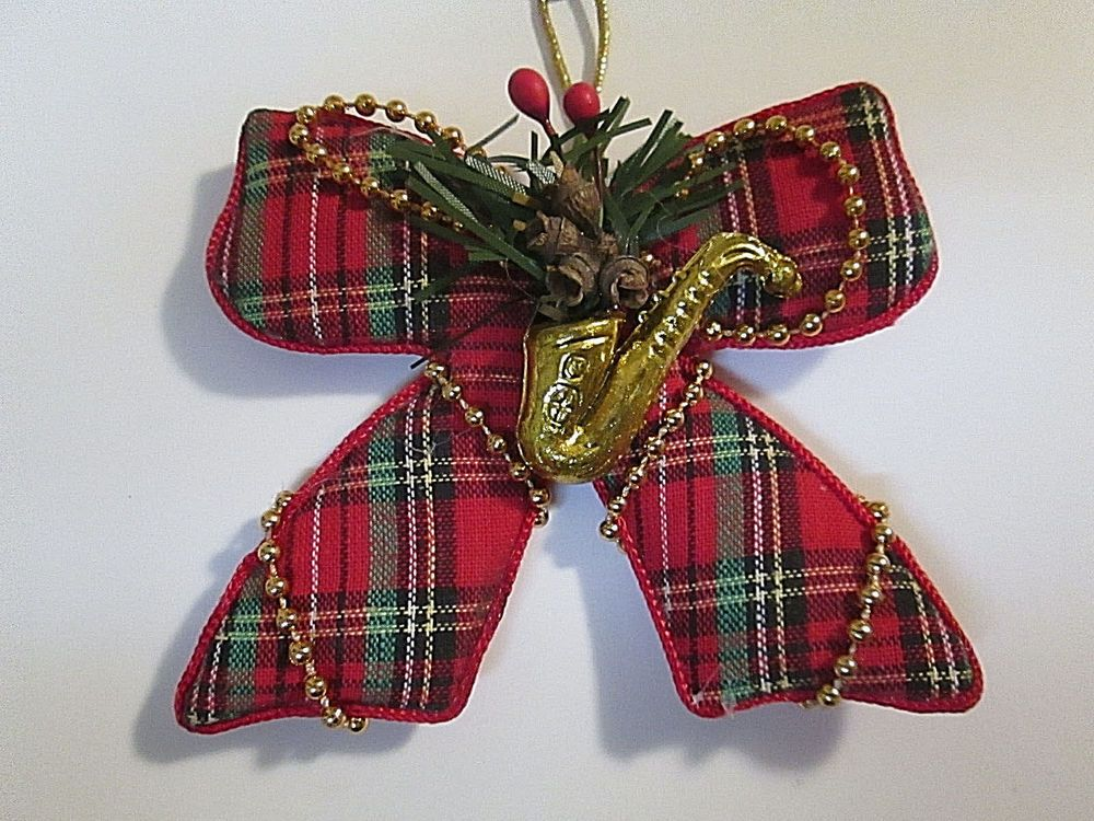 Red Tartan Plaid Fabric Bow Christmas Tree Ornament Beaded Accents