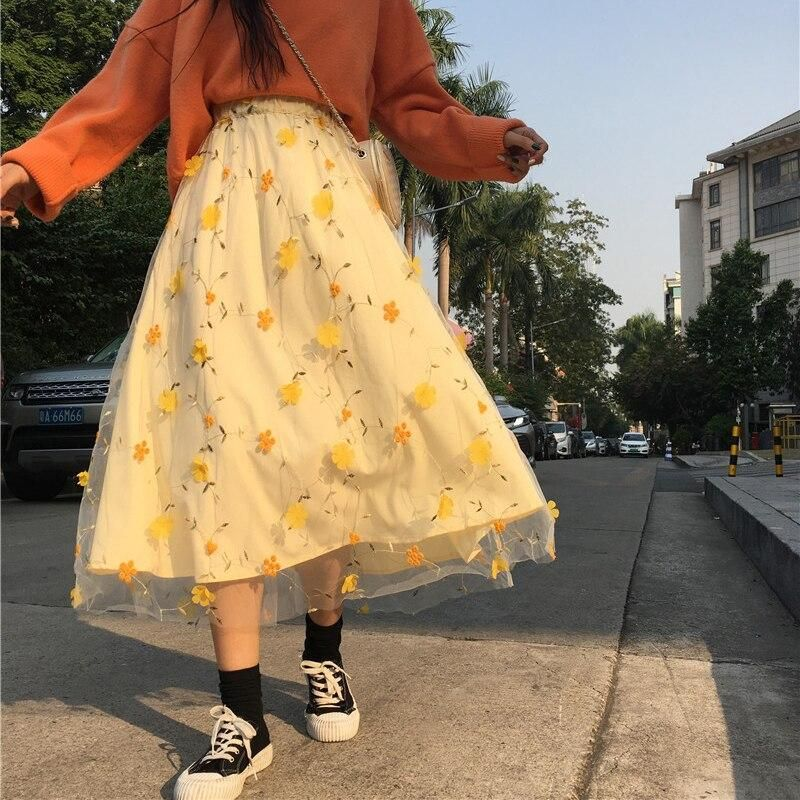Photo of 3D Flower Embroidery Lace Mesh Skrit Women High Elastic Waist Long Midi Skrit Yellow Elegant Tulle Skirt Sweet Cute Student W743