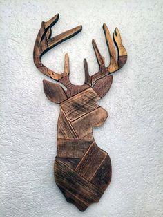 Wood Block Deer Head Cheap Man Cave Ideas For Wall Art