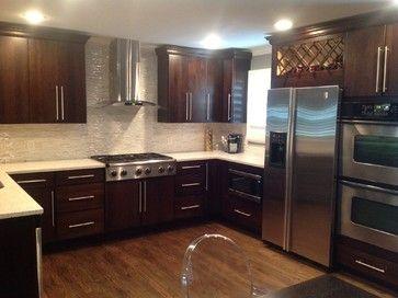 Matching Kitchen Cabinets With Dark Oak Hardwood Flooring Dark Oak Wood Floors Dark Oak Cabinets Oak Kitchen Cabinets