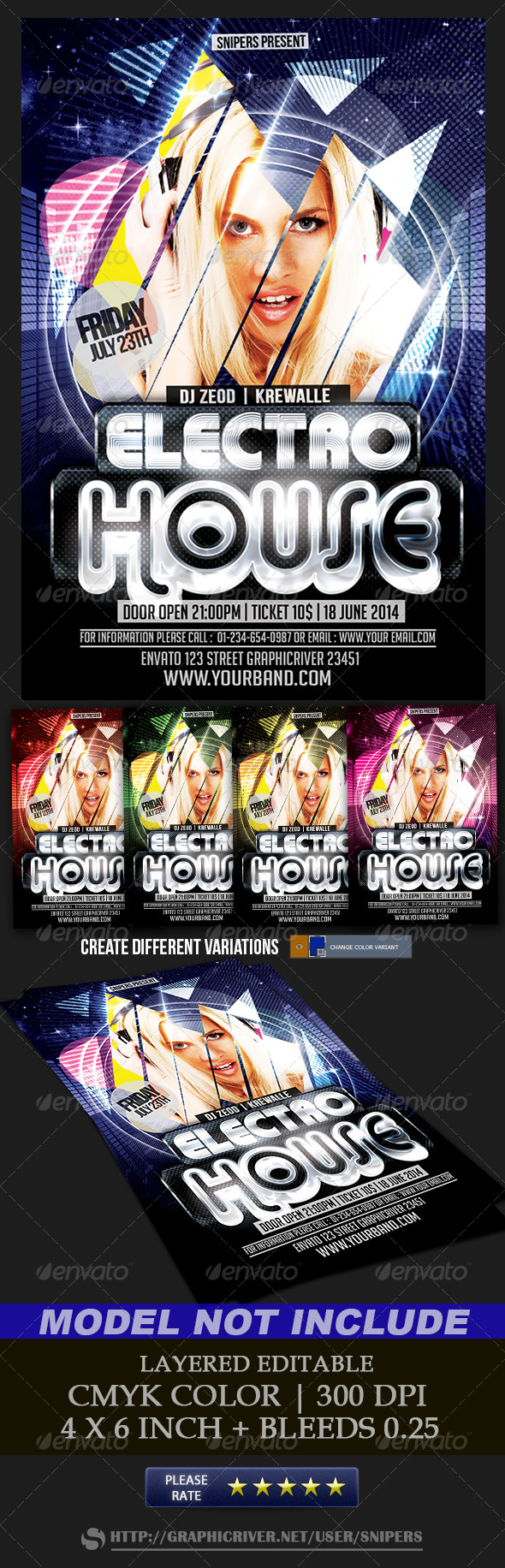 Electro House | Electro music, Flyer template and Font logo