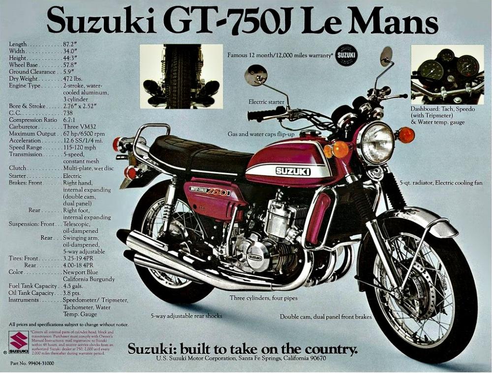 VINTAGE SUZUKI GT750J MOTORCYCLE BANNER