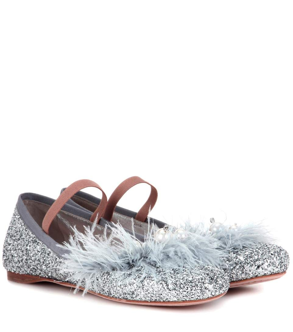 a0adc56498ac MIU MIU Embellished glitter ballerinas.  miumiu  shoes  flats