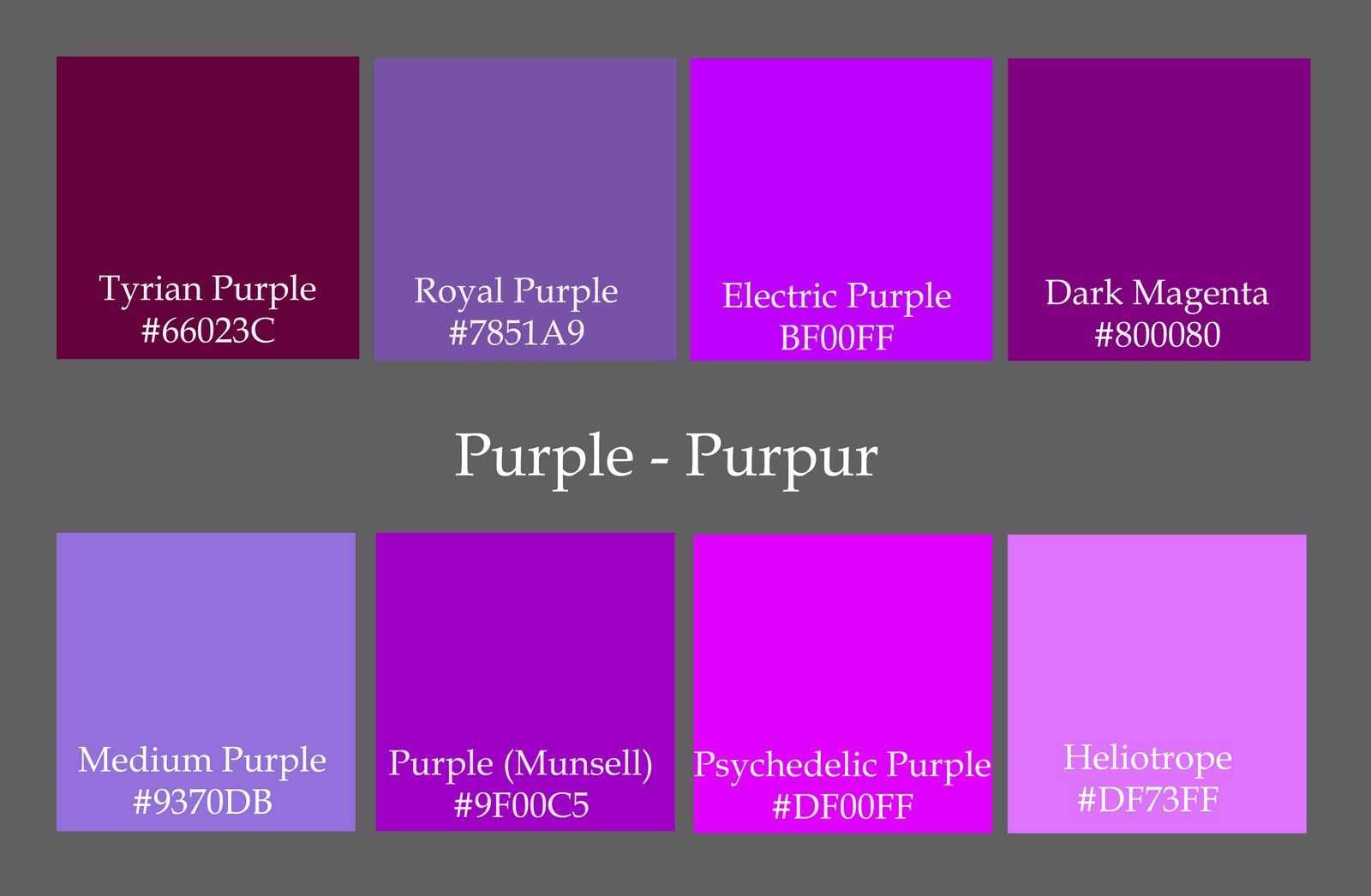 Charming Shades Of Purple Paint Ideas Also Color Chart Names Hex