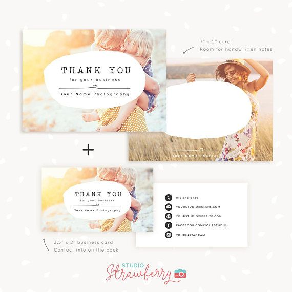 Thank You Note Cards Template For Photographers Set Of X And