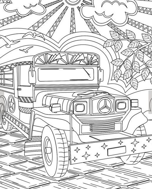 Printable Philippine Jeepney Coloring Page For Adult Colouring