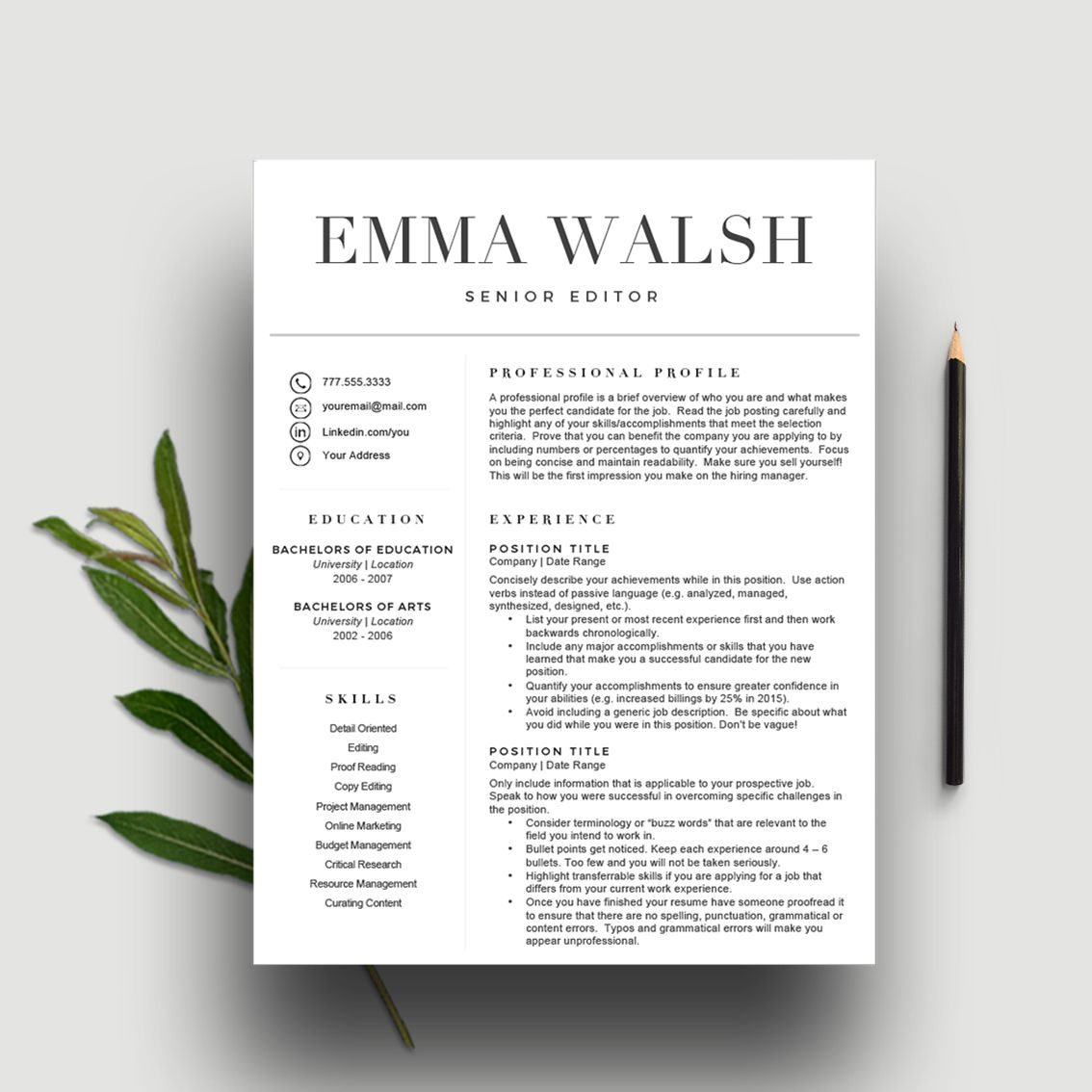 Clean And Classic Resume Template Highlight Your Skills