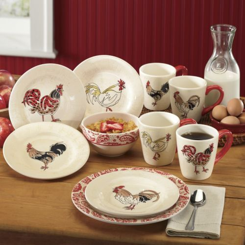 16-piece Paisley Rooster Dinnerware Set From Through The