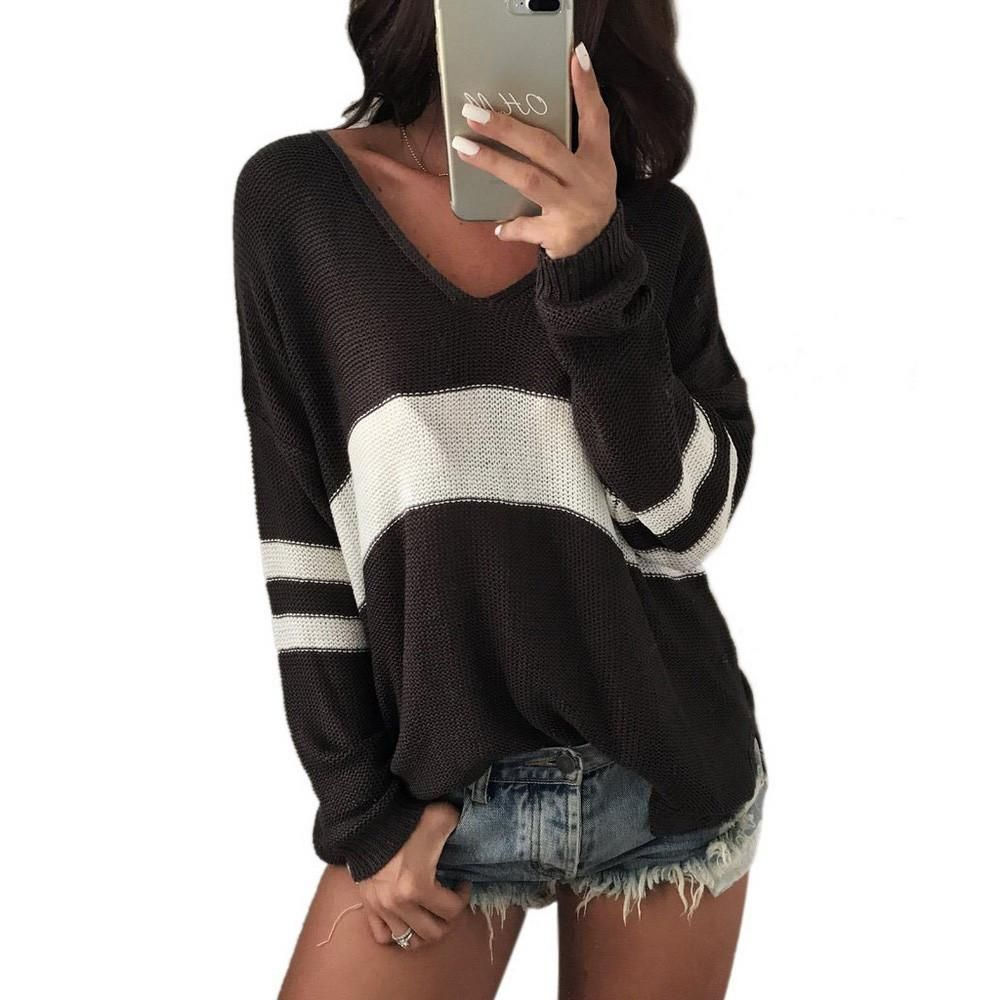Casual front short and back long vneck striped sweater soft