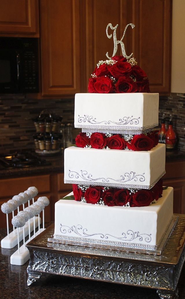 Square Tiered Cake Wedding Cake Roses Wedding Cake Red Wedding Cakes With Flowers