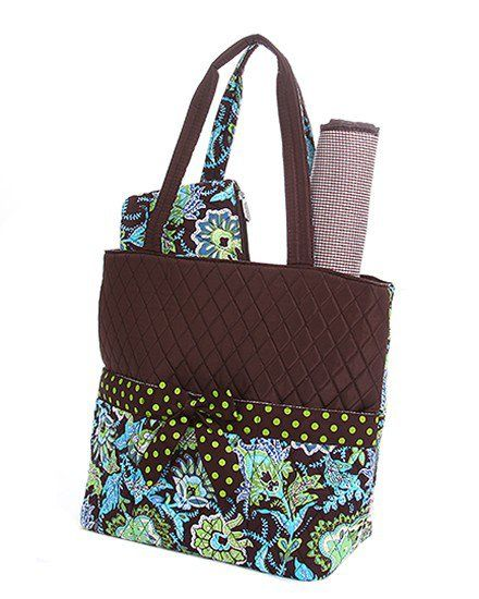 3188bae4b3 This beautifully crafted brown   liime floral 3 piece diaper bag by Belvah  showcases soft