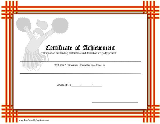 A certificate of achievement with a red-orange border and a - microsoft word certificate borders